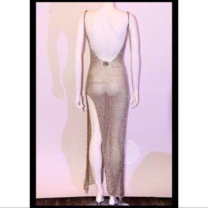 Gold tone knit dress